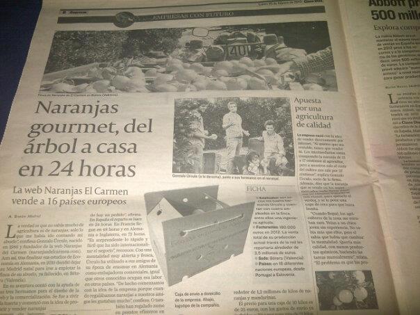 Naranjas del Carmen en el diario Cinco Días