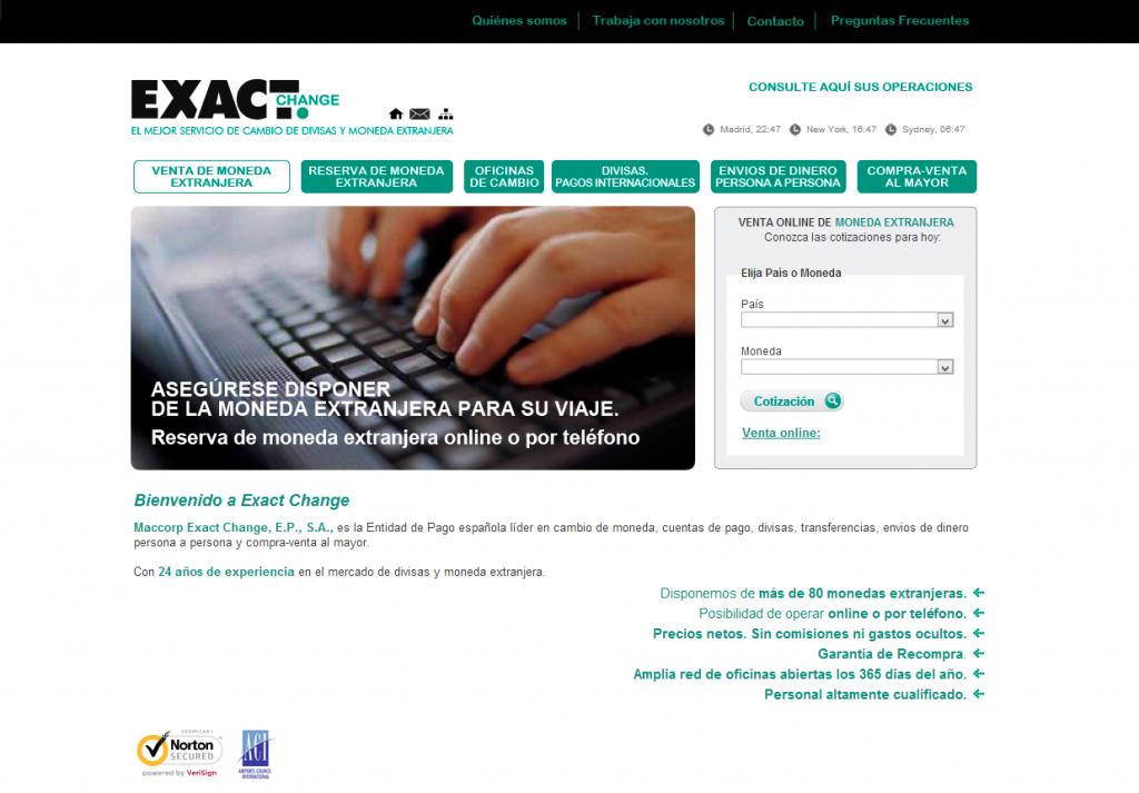 Página web de Exact Change