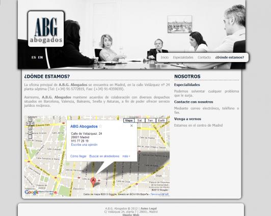 Sección de contacto de la página web
