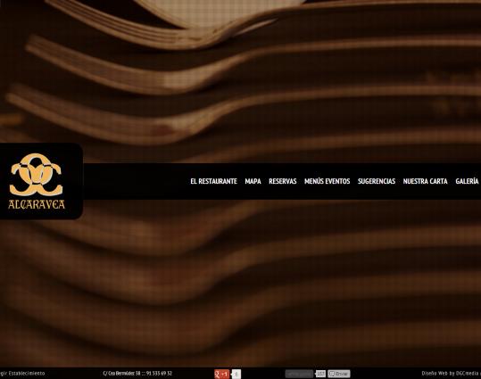 Página web principal de un restaurante