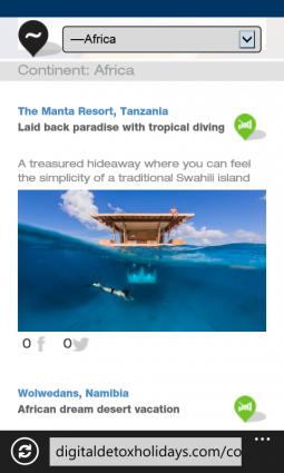Página web de hotel para móvil