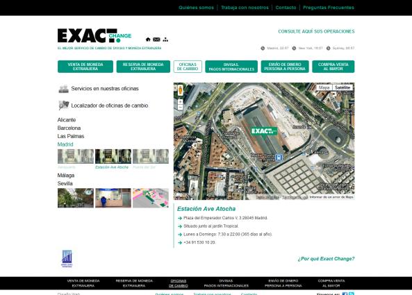 Página web de una de las oficinas de cambio de moneda
