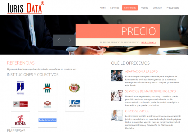 Página web de referencias de la empresa