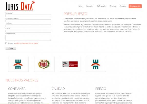 Página web de formulario de contacto